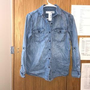 Joe Fresh Jean Button Down Top Sleeve Buttons